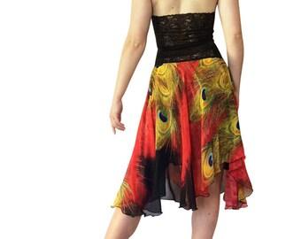 Red Peacock Chiffon Circle Tango Skirt