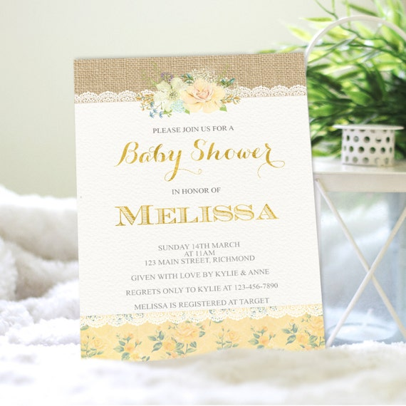 rustic baby shower invitation baby shower invite shower invitation