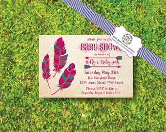 Boho, bohemian, tribal, feather, Baby Shower, Invitation, announcement, pink, teal, navy, green, orance