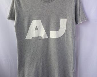 90s//Armani Jeans Milano//AJ//Italian Fashion Desingner//Big Dual-Sided Logo//Tshirt//Made In Romania