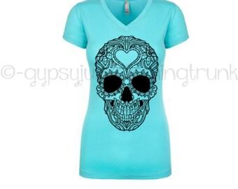 Sugar Skull Turquoise Shirt - Sugar Skull Shirt - Gypsy Shirt- Hippie Shirt - Turquoise Skull Shirt - V Neck Shirt - Festival Shirt