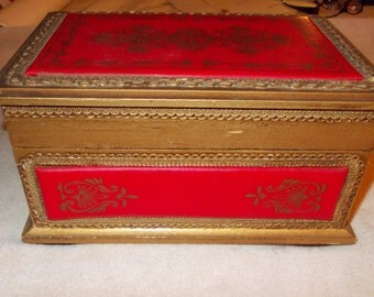 Vintage Ornate Wooden Jewelry Box