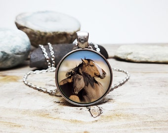 Horse Necklace Horse pendant Horse mom and colt horse baby with his mommy horsey necklace Horse lover gift horse riding necklace