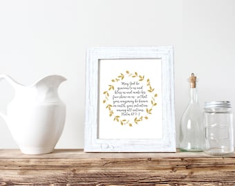 Psalm 67 Blessing Gold Leaf Bible Verse Wall Art Digital Print
