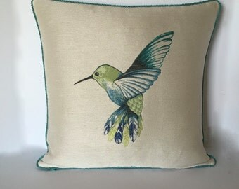 Designer Pillow - Humming Bird Accent Pillow - Decorative Pillow - Pillow Cover - Turquoise Throw Pillow