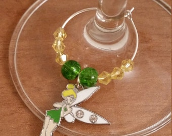 Pack of 2 : Tinkerbell wine / champagne charm (design2)