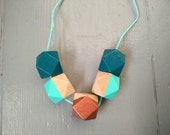 Geometric Necklace - Teal...