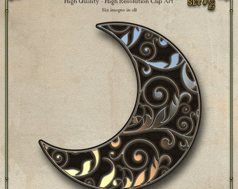 Moon, Silver and Black Digital Clip Art Set 2