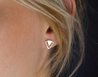 Geometric Stud Earrings - Silver Triangle post earrings - UK Handmade