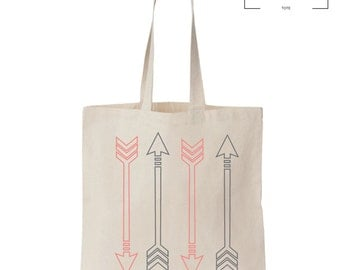 Just Arrows -  Tote Bag - Canvas Tote Bag - Cute Hipster Arrows - Grocery Tote