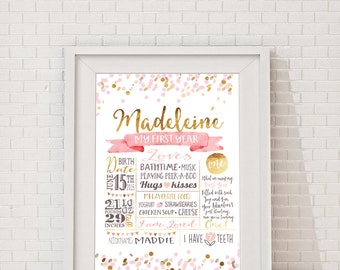 First Birthday Poster, Gold Pink Confetti Milestone Board, Baby Girls First birthday party sign. Customised, Printable