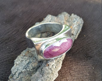 Natural Ruby Men Ring - Handmade&Silver