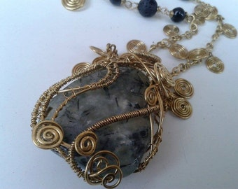 Handmade laiton necklace with prehnite -epidote stone, lava stone and onyx