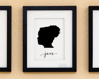 Personalized Silhouette Custom Portrait Print with name – Calligraphy