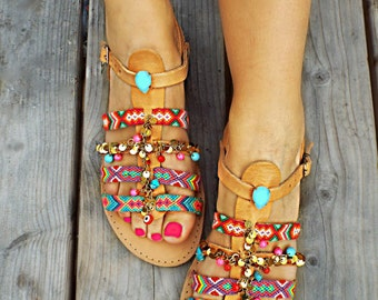 "Bohemian Greek Sandals, Ankle Strap Sandals ""STAR SHINE''"
