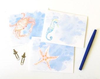 Set of 6 Nautical Watercolor note cards, crab, seahorse, starfish