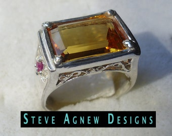 Big Citrine Ring with Rubies