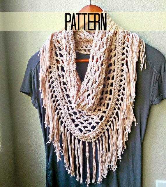 Crochet Scarf Pattern Triangle Scarf Pattern Fringe By Myandgg