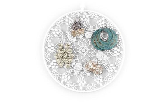Jewelry Organizer, White Jewelry Organizer, Earring Holder , Jewelry Display, Crochet Doily Jewelry Organizer, Bedroom Decor, Gift for her