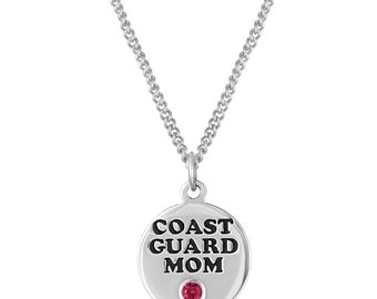 Coast Guard Mom Necklace, Coast Guard Gift for Coast Guard, Coast Guard Jewelry, Coast Guard Mom Charm Necklace, Personalized Birthstone