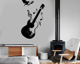 Wall Vinyl Music Rock Microphone Notes Raven Guaranteed Quality Decal Mural Art 1556dz