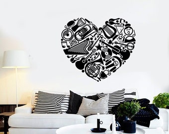 Wall Vinyl Music Hearts I Love Heart Guaranteed Quality Decal Mural Art 1564dz