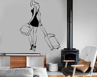 Wall Decal Fashion Girl Woman Travel Trip Bags Beauty Vinyl Sticker Mural Art 1596dz