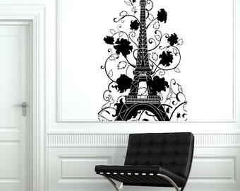 Wall Decal Paris France Eiffel Tower Flower Romantic Vinyl Decal Sticker 1829dz