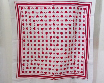 Vintage 1980's Red & White Hearts and Lips Bandana Made in USA 22 x 21 LOVE and KISSES