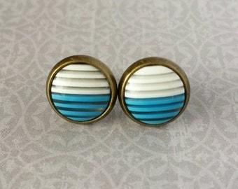 Blue and White Stripe Stud Earrings (10mm) Bronze