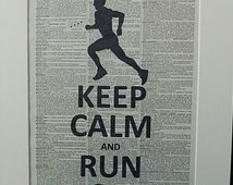 Runner Keep Calm and Run On Silhouette Wall Art Print