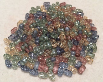 Bi-Bo Beads, 5.5x2.8mm, Luminous Spring Mix, BO52-MIX01-VP, 20 Grams, Czech Glass