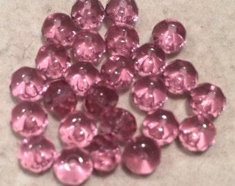 Gemstone Donut Beads, 4x6mm, French Rose, 1-45-7050, 25 Beads, Czech Glass