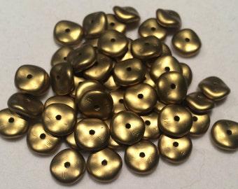 Wavelet Beads, 10mm, Metallic Olivine, 29418, 50 Beads, Czech Glass