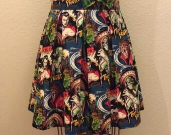 Movie Monster Printed Adult High Waisted Skater Skirts