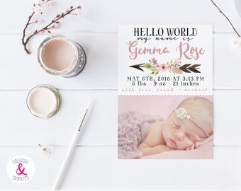 Girl Birth Announcement, Hello World, Boho, Floral Arrow [700]