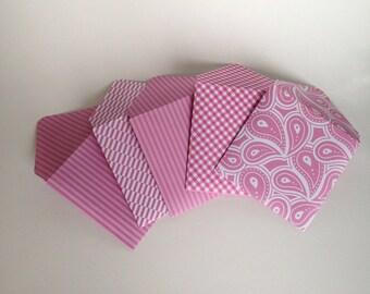 Handmade Envelopes - Small Square Pink Envelopes - Wedding Envelopes - Paper Envelopes - Scrapbooking - Notecard Envelopes - Free Shipping