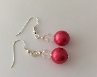 Bright pink beaded earrings with clear bicone beads