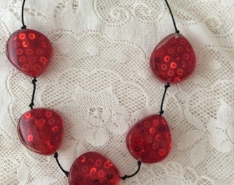 Chunky red necklace
