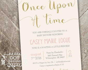 Once Upon A Time   Baby Shower Invitation   Custom Digital Print