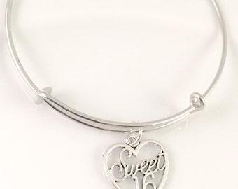 Sweet 16 Bangle Bracelet, Heart Charm Bracelet, Sweet 16 charm, gift for her, Adjustable bangle bracelet, simple bangle, trendy jewelry