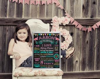 Printable Pink Flamingo Birthday chalkboard sign chalk board first second third (251)