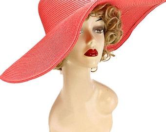 Womens Wide Brim Floppy Hat Beach Sun Hat - Coral