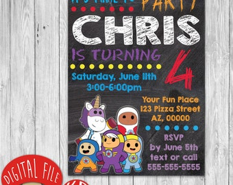 Printable Go Jetters Invitation - birthday party favor decor - 4x6 or 5x7 inches - chalkboard style