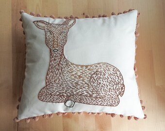 Hand embroidered deer cushion