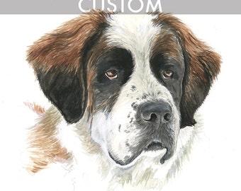 CUSTOM ANIMAL PORTRAIT 11x14 Watercolor - Custom Pet, Pet Portrait, Pet Painting, Animal Painting, Custom Animal