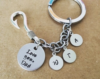 Fish hook keychain with initials / For him / Fishing hook / Hand stamped key chain for dad /from kids / personalized / Gift for father