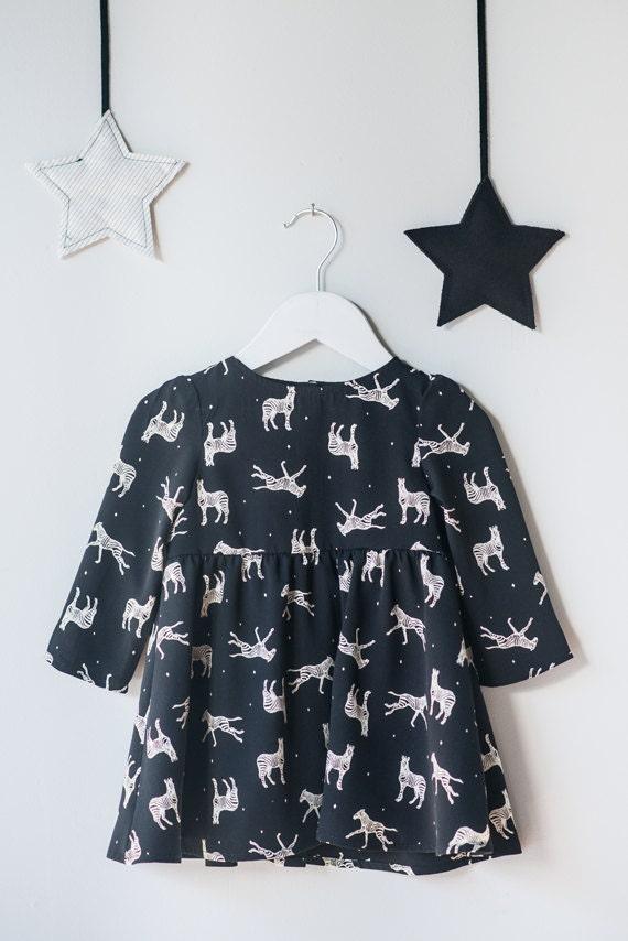 CHOUETTE - 3/4 sleeves skater dress, empire waist long dress, flared dress for babys - Black with zebras print