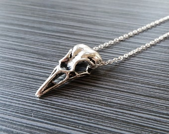 Silver Skull Necklace - Bird Skull Charm Pendant - Personalized Necklace - Custom Gift - Initial Necklace - Raven Necklace - Bones Necklace
