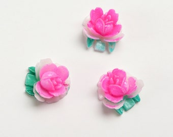 Vintage Pink Rose Cabochon with teal/green leaves acrylic, hand-painted, Japan, 1960s - 10 mm - 12 pcs - C74